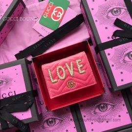 Gucci GG Marmont Velvet Card Case Love Design Pink 466492
