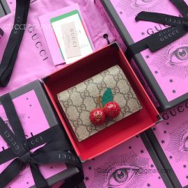 Gucci GG Supreme Card Case With Cherries Red 476050