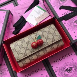 Gucci GG Supreme Continental Wallet With Cherries Red 476055
