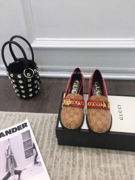 Gucci GG Supreme Mid Heel Loafer with Chain 55MM 2191023