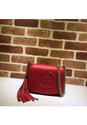 Gucci Soho Leather Chain Shoulder Bag Red 323190