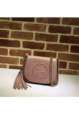 Gucci Soho Leather Chain Shoulder Bag Pink 323190