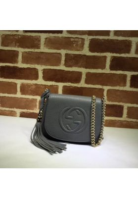 Gucci Soho Leather Chain Shoulder Bag Gray 323190