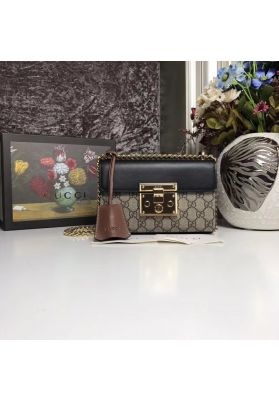 Gucci Padlock Small GG Shoulder Bag Black 409487