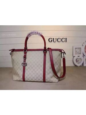 Gucci GG Pattern 2WAY Shoulder Boston Bag Red 339550
