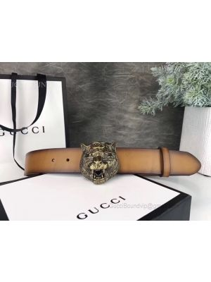 Gucci Leather Belt With Tiger Head Clay 38mm