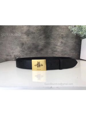 Gucci Signature Leather Belt With Bee Black 38mm