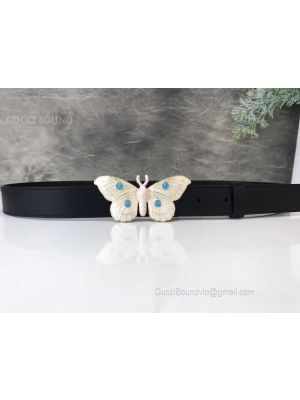Gucci Leather Belt With Butterfly Black 30mm