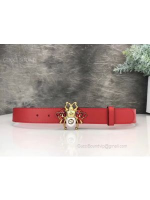 Gucci Leather Belt With Bee Red 30mm