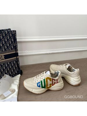 Gucci Rhyton Leather Sneaker with Glitter Gucci Logo Print 2191306