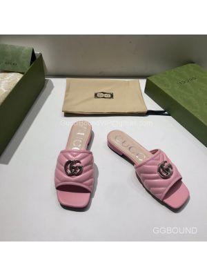 Gucci Double G Slides Sandal in Matelasse Pink Calfskin 2191313